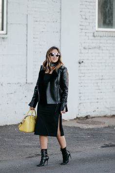 All black outfit // Manolo Boots // Dress with slits // Leather Shearling Moto Jacket // Yellow Givenchy Bag // Bandana // Dior Sunglasses