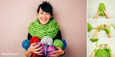 Comment tricoter une écharpe en 30 minutes seulement avec les mains. J'essaie crla bientôt! | How to Make 30 Minute Infinity Scarf - Knit - Handimania