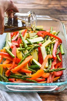 Balsamic Grilled Vegetables are the perfect easy side dish for grilling season. Loaded with bell peppers, zucchini, asparagus, and onions these flavorful veggies are sure to be a hit!