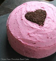 A layered gluten-free Chocolate Beet Cake. So moist and chocolatey, with a contrasting vanilla buttercream tinted pink using a little natural dye from the beets. Chocolate Beet Cake with Naturally Dyed Pink Buttercream Chocolate Beet Cake, Gluten Free Chocolate Cake, Gluten Free Sweets, Chocolate Recipes, Frosting Recipes, Cake Recipes, Dessert Recipes, Buttercream Frosting, Vanilla Buttercream