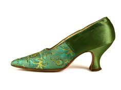 Green Silk and Brocade Shoes, USA, c. 1915
