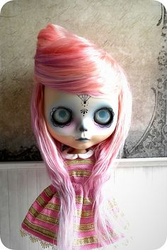 Sugar Skull Blythe Doll by Tea Cup Fox, via Flickr
