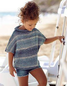 Ravelry: Sweater pattern by Fil Katia Kids Knitting Patterns, Kids Patterns, Knitting For Kids, Knitting Designs, Baby Knitting, Pull Bleu, Girls Jumpers, Summer Sweaters, Summer Knitting