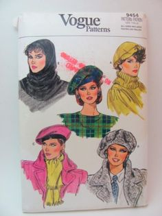 Vintage Vogue 9454 Hats and Hoods Sewing Pattern Circa 1985 as New $15.00