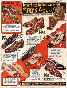 A stylish selection of men's footwear from Fay's Shoe Catalogue 1932. #vintage #1930s #fashion #shoes  #menswear