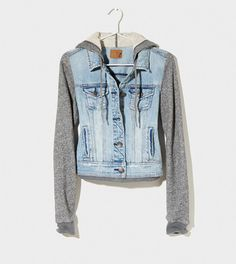 Denim jacket with sweater sleeves Only worn once American Eagle Outfitters Jackets & Coats Jean Jackets Look Fashion, Teen Fashion, Fashion Outfits, Womens Fashion, Fashion Clothes, Hipster Clothing, Swagg, Dress To Impress, Autumn Winter Fashion