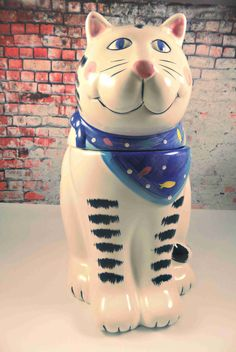 Coco Dowley Cat Cookie jar vintage cookie jar cat canister black and white cat ceramic cookie jar gifts for her gifts for grandma treat jar by TheZenSquirrel on Etsy https://www.etsy.com/listing/245764745/coco-dowley-cat-cookie-jar-vintage