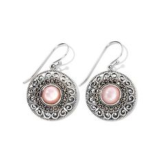 Gray Marcasite and Pink Mother-of-Pearl Sterling Silver Drop Earrings ❤ liked on Polyvore featuring jewelry, earrings, pink mother of pearl jewelry, sterling silver jewelry, drop earrings, marcasite jewelry and marcasite jewellery