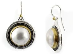 Pearl Gauntlet Earrings in Sterling Silver layered with Blackened Silver and 24K Gold by GURHAN