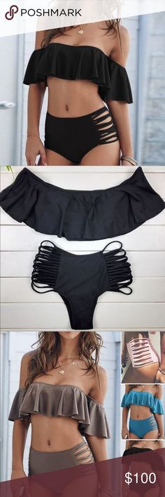 Shoulder off Sexy Swimsuit High Waisted Bikini ‼️COMING SOON ‼️Sexy shou. Shoulder off Sexy Swimsuit High Waisted Bikini ‼️COMING SOON ‼️Sexy shoulder off Hight waist bikini set. Sexy Outfits, Summer Outfits, Cute Outfits, Fashion Outfits, Summer Dresses, Summer Bathing Suits, Girls Bathing Suits, Haut Bikini, Bikini Set