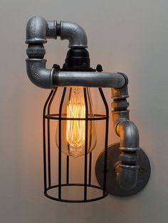 Wall Lamp Steampunk Wall Lamp Industrial by SteamVintageWorks Bedside Lighting, Bedside Lamp, Steampunk Lamp, Pipe Lamp, Wooden Gifts, Industrial Lighting, Man Cave, Light Fixtures, Wall Lights
