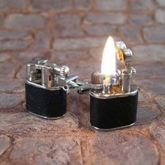 Working leather lighter cuff links.... Bad ass!!