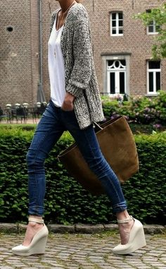 Sweater with basic shirt and jeans.  Can we swap the wedges for flats?  More comfy!