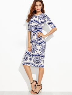 Online shopping for Blue And White Porcelain Print Pencil Dress from a great selection of women's fashion clothing & more at MakeMeChic.COM.