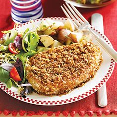Oven-fried pork chops- just made these, SO GOOD! Pretty low-cal, especially if you're only eating a 3oz or 4oz chop. I had to adjust cooking time for one larger chop I had.