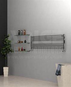 Towel radiator - horizontal - Adige, 1200/400mm Chrome Flat Towel Radiator
