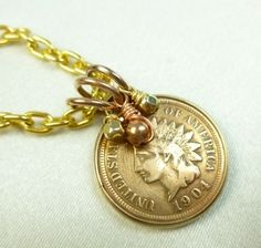 1904 Indian Head Penny One Cent Coin Pendant Gold Filled Bezel