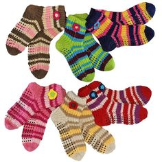 Chunky Knit Multicolor Stripe 6 Pack Winter Socks ($25) ❤ liked on Polyvore featuring intimates, hosiery, socks, colorful striped socks, chunky knit socks, colorful socks, striped socks and multicolor socks