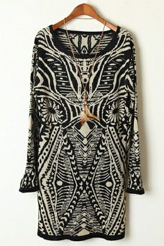 Geometrical Pattern Long Sweater | $45.90 #Fashion #Trending #Womens Fashion | Visit WISHCLOUDS.COM for more...