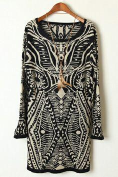 Geometrical Pattern Long Sweater | $45.90 #Fashion #Trending #Womens Fashion | Visit WISHCLOUDS.COM for more...