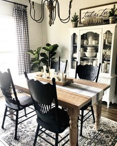 46 this livingroom and dining room decor is farmhouse goals! 42 Dining Room Decor decorating ideas for small dining room walls Dining Room Walls, Dining Room Design, Furniture For Dining Room, Dinning Room Table Decor, Dining Room Corner, Dinning Chairs, Furniture Stores, Dining Area, Home Living