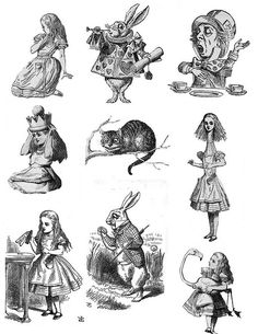 Alice In Wonderland original drawings so much better than the sanitized…