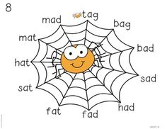 Web Reading! cvc word practice mats with a spider theme. FREE!