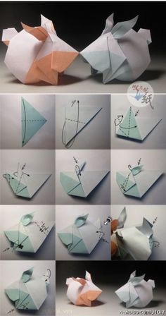 How to make origami lion instructions. Easy and advanced origami … Origami 3d, Origami Design, Origami Simple, Origami Dragon, Origami Folding, Paper Crafts Origami, Paper Folding, Bunny Origami, Origami Ideas
