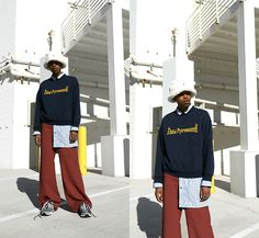 Mens Fashion, Fashion Edgy, Fashion Menswear, Helmut Lang, Faux Fur, Crew Neck, Trousers, Blazer, Casual