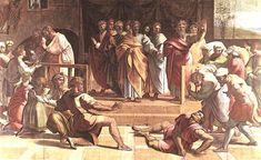 La muerte de Ananías (Bocetos para la Capilla Sixtina) - Rafael Sanzio