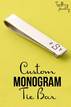 This classic custom monogram tie bar makes an absolutely perfect gift for the guy who's hard to shop for. Grooms, groomsmen, dads & grads, if he wears a tie, he needs a tie bar! -Spiffing Jewelry