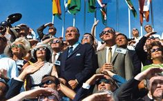 9. US Vice President Spiro Agnew and former US President Lyndon B. Johnson, in a crowd watching the liftoff of the Apollo 11 mission at Kennedy Space Center, Florida, on July 16, 1969.  AFP/Getty Images