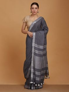 Buy Grey Handwoven Cotton Saree online at Theloom