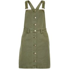 New Look Anita and Green Khaki Button Front Pinafore Dress (£28) ❤ liked on Polyvore featuring dresses, khaki, khaki dress, denim dress, denim mini dress, square neck dress and new look dresses