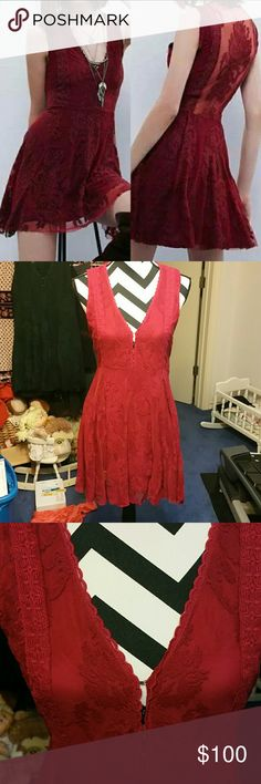 Free people reign over me dress ruby red 6 nwt Free people  Reign over me dress  Size 6 Ruby red Nwt free people Dresses