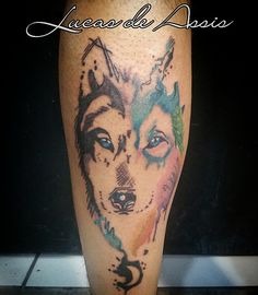 watercolor wolf tattoo ink lobo tatuagem idea