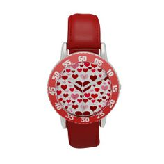 Love Eyes_Watch eWatch with red 7 pink hearts and eyes. Make time telling fun with the kid's a personalized bezel stainless steel watch from eWatchFactory. Watches for adult to at Low Prices. by Elenne Boothe http://www.zazzle.com/love_eyes-256878222248410763