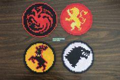 Perler and Artkal fuse bead Game of Thrones Sigils (Targaryen, Lannister, Baratheon and Stark) by PkmnMasterTash/pkmnmastertash-creations/Natasha Lazaravich