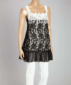 Loving this Black & White Lace Ruffle Linen-Blend Tunic Dress on #zulily! #zulilyfinds