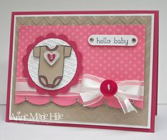 """""""Buttons and Bows for Baby"""", gorgeous card by Anne Marie Hile. Colours used are """"Regal Rose"""" and """"Rose Red"""", by Stampin' Up! The little onesie is from the """"Baby Tees"""" Jumbo Wheel stamp. Baby Girl Cards, Baby Shower Cards, Baby Bows, Baby Crafts, Card Tags, Kids Cards, Scrapbook Cards, Homemade Cards, Stampin Up Cards"""