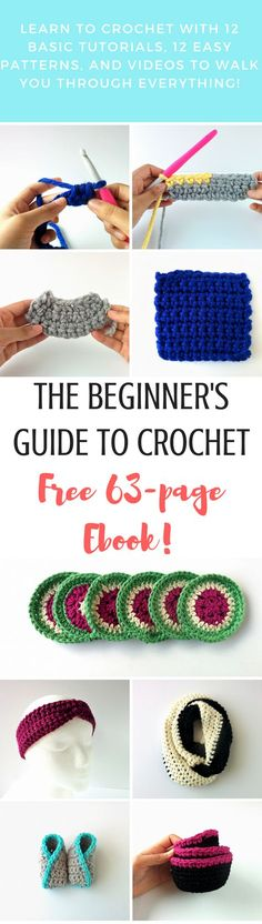 Ready to learn crochet but need some help? The Beginner's Guide to Crochet is full of basic tutorials, tips, and video to help you learn the techniques and 12 awesome crochet patterns designed for beginners! And it's all for free!