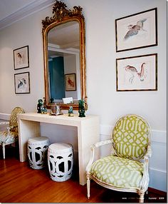 Exactly what I want to do w/ ours! Kelly Wearstler lime green fabric on an antique Louis XVI chair