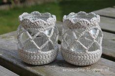 Geniet van ieder moment: Waxinelichtjes Diy Crochet Gifts, Crochet Home, Love Crochet, Crochet Crafts, Crochet Projects, Knit Crochet, Crochet Amigurumi, Crochet Decoration, Creation Couture
