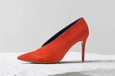 Céline Red Suede Kidskin V Neck Pump.  #TransitionalFall #Fashion #Celine #Pumps #Heels #Shoes #Women