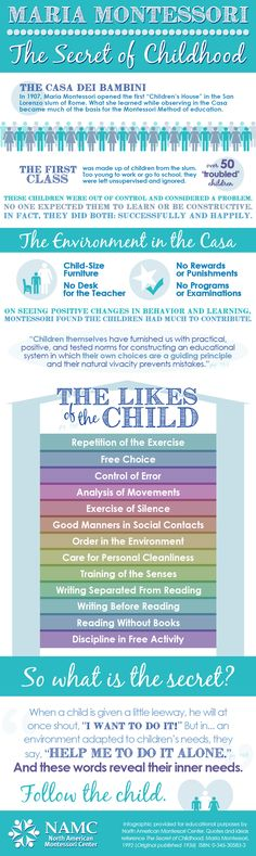 NAMC Montessori Secret of childhood infographic on Montessori Education! FABULOUS!