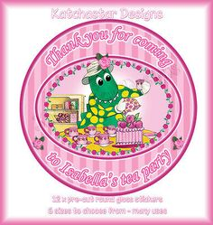 DOROTHY DINOSAUR TEA PARTY PERSONALISED ROUND CIRCLE GLOSS PARTY STICKERS X 12