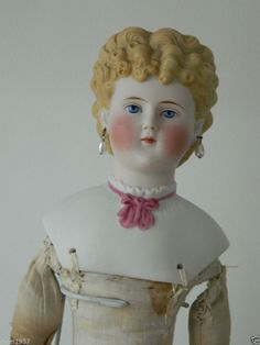 "22"" Beautiful Parian doll by Alt,Beck & Gottschalck , old cloth body ,No Damage"