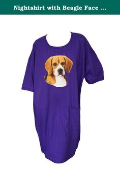 Nightshirt with Beagle Face All Cotton Made in USA. This gorgeous nightshirt screams comfort and style! Lovely purple softness in 100% preshrunk cotton has a scoop neck, short sleeves, a side pocket, and a sweet Beagle dog on the front. Nightshirt is made in the USA, one size fits most. Shoulder to hem is 38 inches and side to side across the hips, lying flat, is 25.25 inches. Full coverage and nice enough to wear around the house. Machine washable.