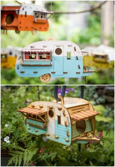 Vintage Camper Bird House. Scale model playset you can build and use! Bring back the love of travel and camping with a miniature trailer. Complete kit with paint. Easy to turn into a birdhouse! #buildabirdhousekit