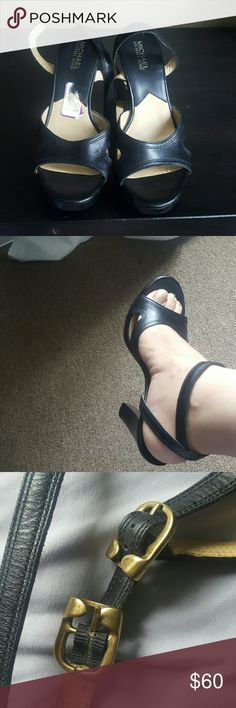 MK 5 inch Heels Leather Platform Sandals Pre-owned in great condition. 1inch platform. See pics for details. Size 8 Medium Michael Kors Shoes Sandals